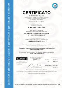 Certificato ISO 9001 2015 VNE Holding Srl 212x300 - La qualità di VNE certificata TÜV SÜD - vne - news