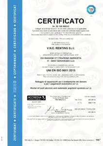 Certificato ISO 9001 2015 VNE Renting Srl 212x300 - La qualità di VNE certificata TÜV SÜD - vne - news